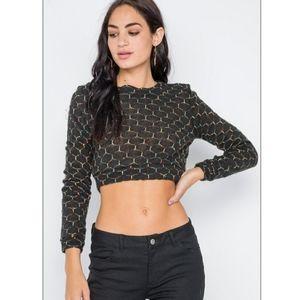 Black Hexagon Print Crop Top
